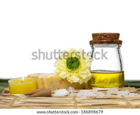 image of tropical spa and green leaf - stock photo