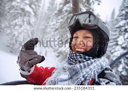 image of young snowboarder - stock photo