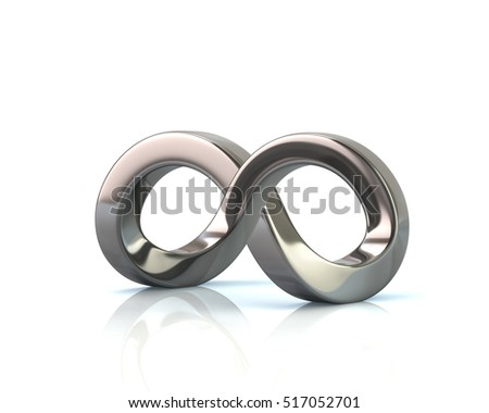 Impossible infinity symbol optical illusion 3d rendering on white background