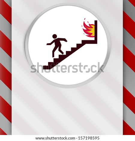 In Case of Fire Warning Sign with yellow and gray stripes to get attention. Copy Space for any languages - stock photo
