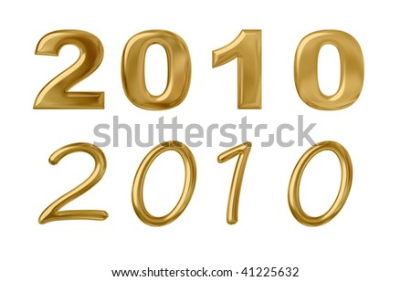 2010 in golden numbers in two fonts. Isolated on white. Clipping path included. - stock photo