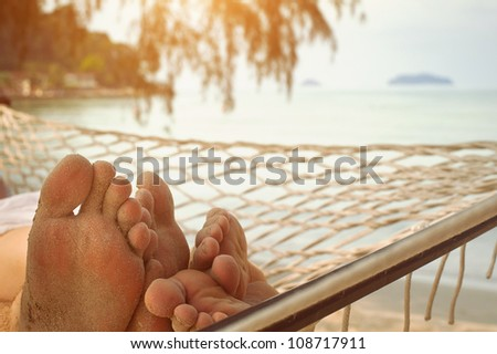 in hammock - stock photo