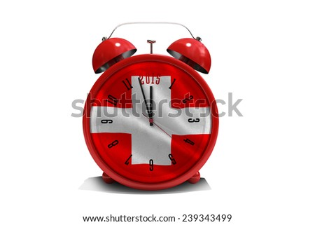 2015 in red alarm clock against digitally generated swiss national flag