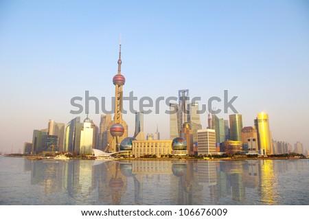 2012 in Shanghai skyline - stock photo