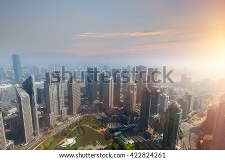 In the evening, Shanghai Pudong skyline