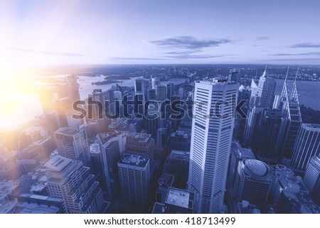In the evening, Sydney Tower aerial view of the city - stock photo