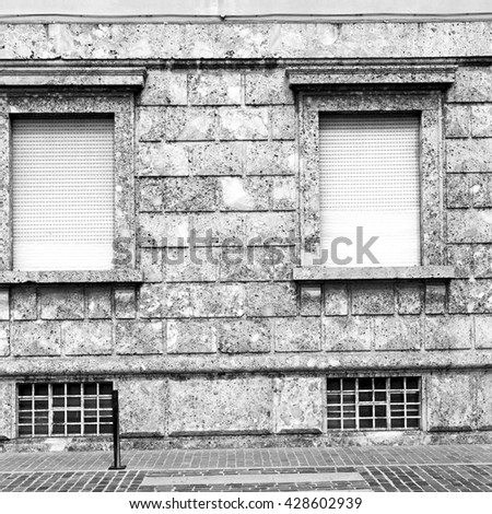 in the italy window and door white  colors  wall      old architecture - stock photo