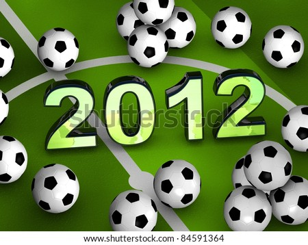 2012 in the middle of a green playground with many soccerballs - stock photo