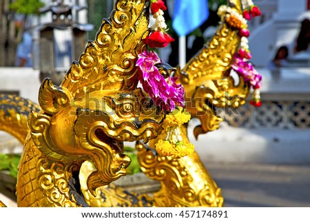 in the temple bangkok asia   thailand abstract cross        step     wat  palaces   