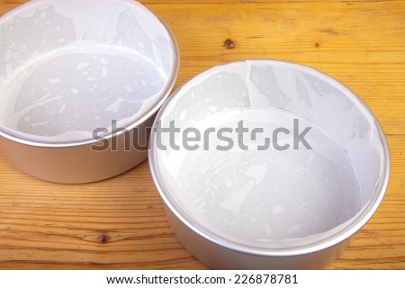 8 inch cake tins lined with greaseproof paper