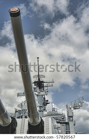 16 inch guns of the USS Missouri - decommissioned battleship USA in Pearl Harbor Hawaii - stock photo