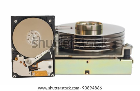 2,5 inch hard disk drive and 5,25 inch hard disk drive. Isolated on a white background.  No shadows on the background.