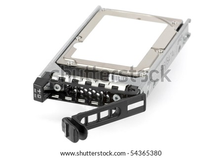 2.5-inch hard drive in hot-swappable carrier, isolated on white. - stock photo