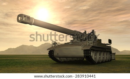 8 inch Howitzer of the Cold War Computer generated 3D illustration - stock photo