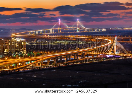 incheon bridge at night - stock photo