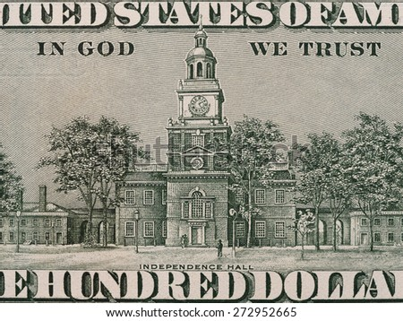 Independence hall on the us one hundred dollar bill macro, united states money closeup - stock photo