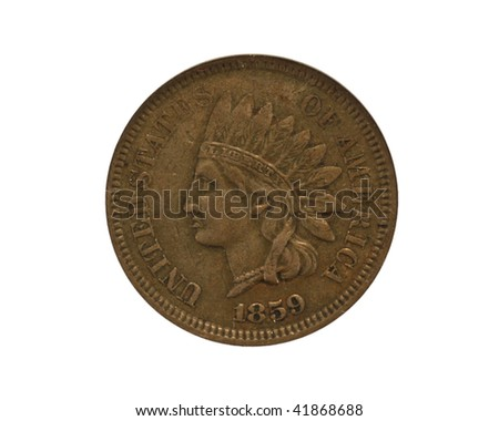 1859 Indian cent closeup - stock photo