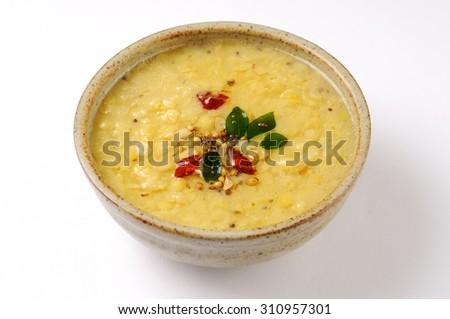 Indian dish tarka dal,Daal Curry,traditional Indian food  - stock photo