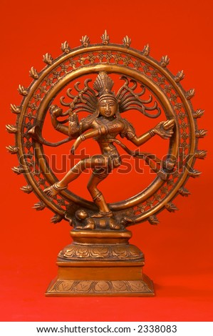 Indian Lord of the Dance Nataraja on red - stock photo