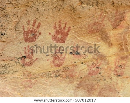 indian petroglyph hand prints along hiking trails in the comb ridge, near blanding, utah