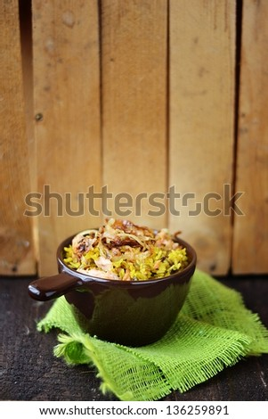 indian rice in to the bowl - stock photo