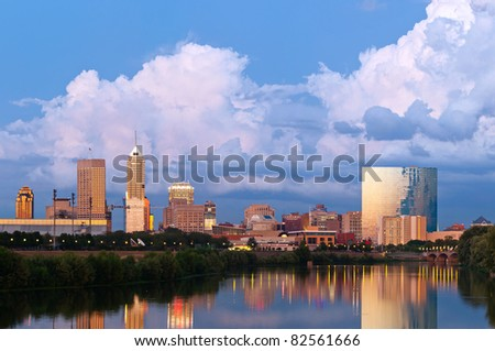 Indianapolis skyline at sunset after thunderstorm.