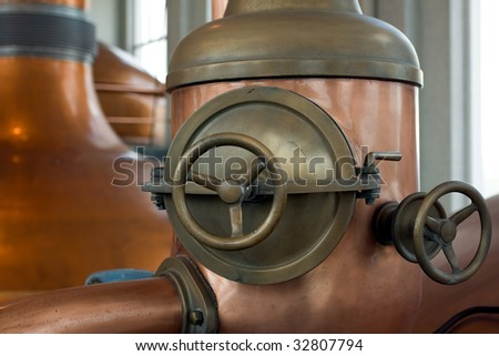 indoor shot of brewery with daylight - stock photo