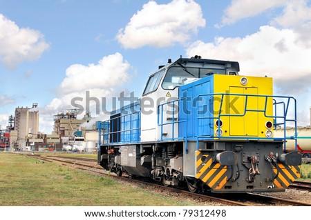 industrial diesel locomotive - stock photo