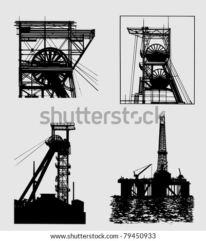 industrial silhouettes - stock photo