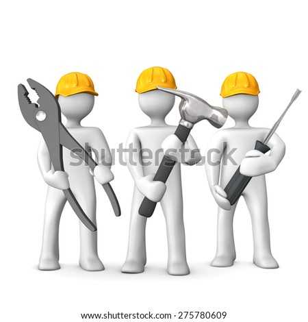 3 industrial workers with tool on the white background. - stock photo