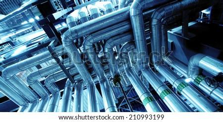 Industrial zone, Steel pipelines in blue tones    - stock photo