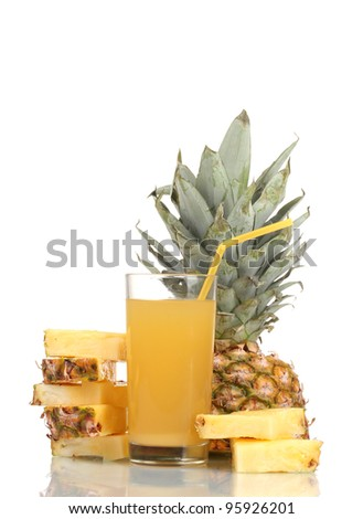 ?ineapple juice and pineapple isolated on white - stock photo