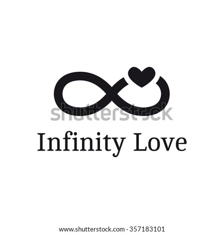 infinity sign with heart logotype. Modern romantic logo - stock photo