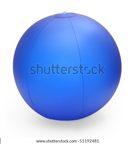 inflatable beach ball isolated on white with clipping path - stock photo
