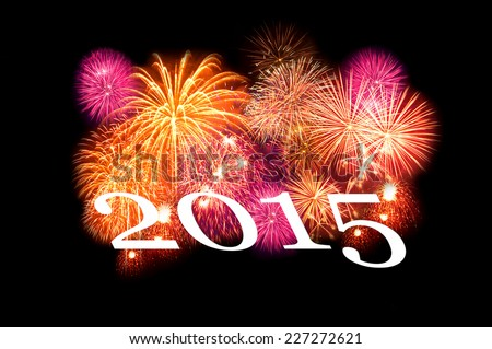 2015 info-text with concept sparkler firework - stock photo