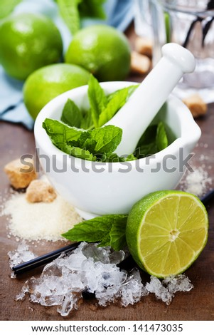 Ingredients for Caipirinha, Mojito Cocktails and other drinks - stock photo