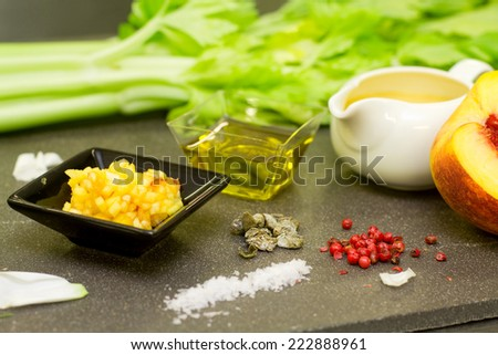 ingredients for gourmet recipe with celery and peach