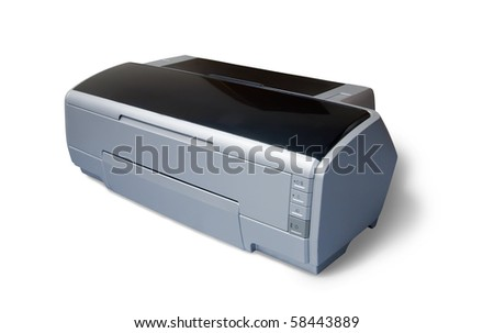 ink-jet A3 printer. Isolated on white with clipping path - stock photo