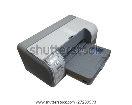 ink-jet printer A4. Isolated on white with clipping path - stock photo