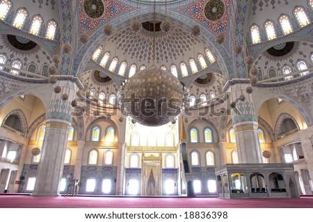 Inside of Kocatepe Mosque in Ankara  - Turkey - stock photo