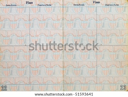 inside pages of a old usa passport - stock photo