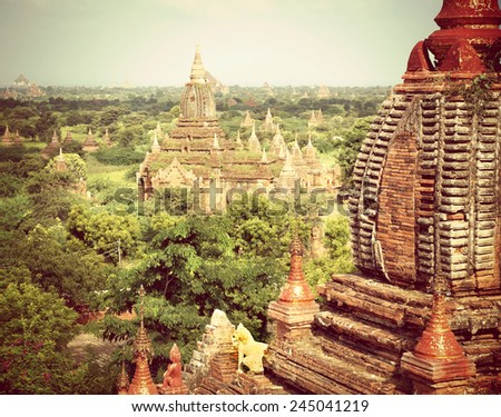 Instagram filter look from the valley of Bagan in the asian country Myanmar consists thousands of ancient temples and pagodes,  - stock photo