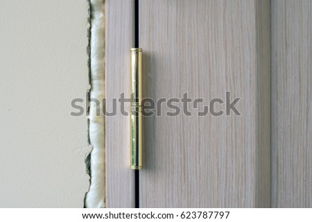 Installation of doors using polyurethane foam mounting. Cylinder Foam polyurethane foam. Installation doors. & Installation Doors Using Polyurethane Foam Mounting Stock Photo ...