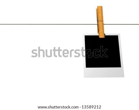 instant photo frame on washline isolated on white - 3d render - stock photo
