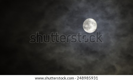 interesting full moon in a cloudy night