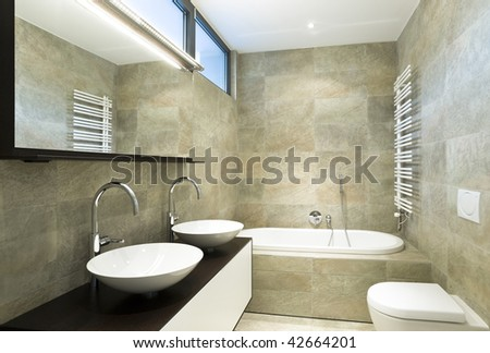 interior beautiful bathroom - stock photo