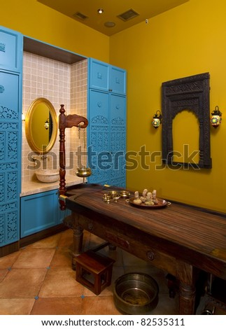 interior cabinet for traditional indian ayurvedic oil  massage - stock photo