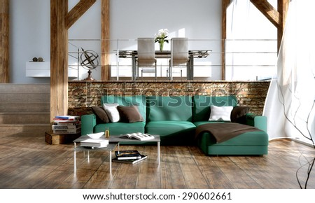 Interior design - 3D render of a modern living room - stock photo