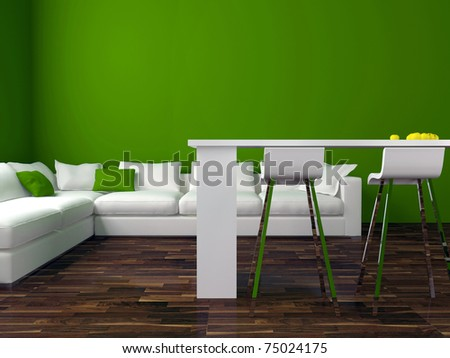interior design of modern green living room with big white sofa, big lounge, 3d render - stock photo