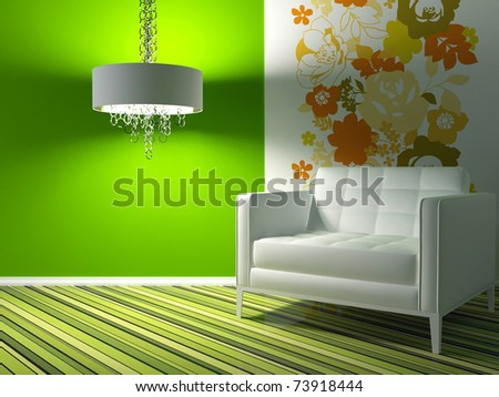 interior design of modern green living room with white armchair, 3d render - stock photo